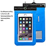Waterproof Phone Case, Asstar Cellphone Waterproof Dry Bag Case Pouch with Compass Locate for Universal Waterproof Case for iPhone 6S SE 5S Galaxy S5 S4 S3 (Blue)