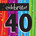 Creative Converting Milestone Celebrations Luncheon Napkins, 16-Count, Celebrate 40