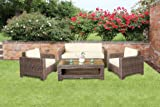 Cambridge Rattan Garden Sofa Set in Brown All Weather Furniture