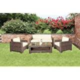 Cambridge Rattan Garden Sofa Set in Brown All Weather Furnitureby Wovenhill Rattan...