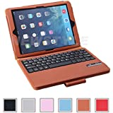 NEWSTYLE Folding PU Leather Folio Case Cover & Stand w/ Removable Bluetooth Keyboard For iPad Air iPad 5 5th Generation / iPad Air 2 Tablet - Brown Color