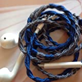 Earbuds w/mic Stormy Skies Blue and Gray Tangle Free, Hand Wrapped Headphones Made for Apple iPhone 5, 5c, 5s, iPad, iPod, EarPods, Headphones
