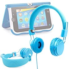 buy Duragadget Blue Ultra-Stylish Kids Fashion Headphones For New Vtech Storio Max Kids Tablet - With Padded Design, Button Remote And Microphone Function