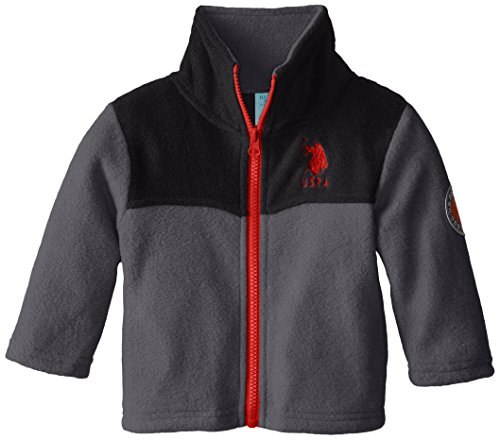 U.S. Polo Assn. Baby Boys' Mock Neck Polar Fleece Jacket, Charcoal/Black, 24 Months