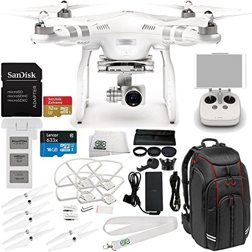 DJI Phantom 3 Advanced Drone w/ 1080p HD Camera & Manufacturer Accessories + DJI Propeller Set + Professional Video Equipment Backpack for DJI + 7PC Filter Kit (UV-CPL-ND2 400-Hood-Stabilizer) + MORE