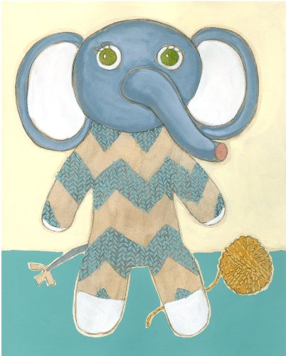 Green Frog Art Wall Decor, Lillian's Elephant Lovie III