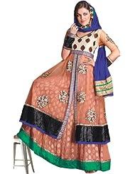 Exotic India Caramel Anarkali Choodidaar Long Kameez Suit With - Multi-Coloured