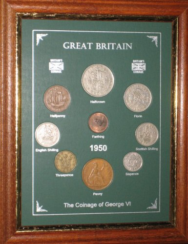Framed 1950 Coin Year Gift Set (63rd Birthday Present or Wedding Anniversary)