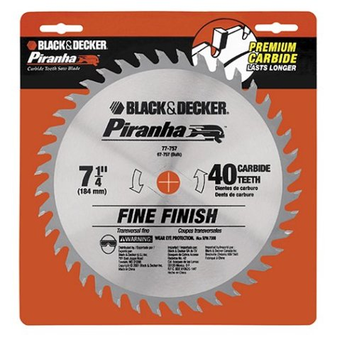 510BVHNZCAL Cheap Black & Decker 7 1/4 PIRANHA® 40T Saw Blade   Carded Part No. 77 757
