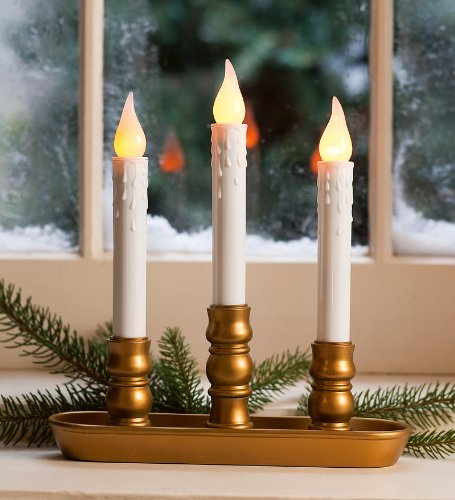 Lily'S Home Battery Operated Triple Window Led Candles With A Timer