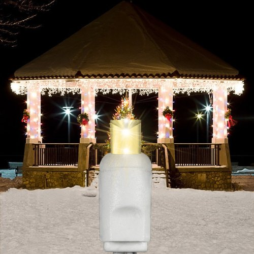 12.8 Ft. Icicle Christmas Lights - 105 Warm White Led Mini Lights 27 Icicle Drops White Wire Commercial Grade