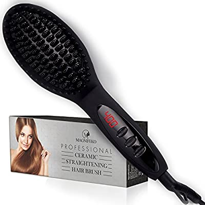 Magnifeko Hair Straightening Brush electric hot Straightener comb for straight and styling