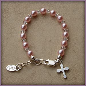 Bella Sterling Silver Girls Bracelet with Pink Czech Pearls and Crystals Accented with Silver Cross
