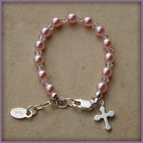 Made in America. Bella Sterling Silver Childrens Girls Bracelet Jewelry Beautiful keepsake sterling silver bracelet with pink Czech pearls and crystals accented with a darling silver cross - perfect for christenings and communion with a touch of pink! Size Large 6-13 Years. Perfect for Christmas, First Communion, Easter, Graduation, Sunday Dress, Christening or Birthday.