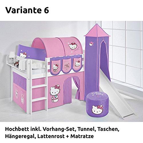 Hochbett Spielbett JELLE Hello Kitty Lila mit Turm, Rutsche und Vorhang, weiß, Variante 6 online kaufen
