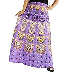 Aura Life Style Women Printed Cotton Long Wrap Around Skirt (ALSK5039W, Turquoise, Free Size)