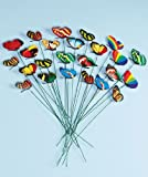 TINYPONY® Set of 24 Garden Yard Planter Colorful Whimsical Butterfly Stakes