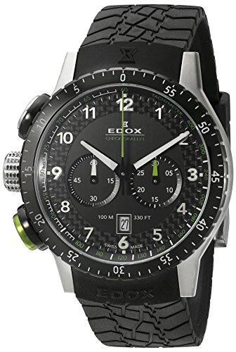 EDOX - 10305 3NV NV - Montre Mixte - Quartz - Chronographe - Lumineuses/Temps intermédiaires/Boussole - Bracelet Caoutchouc Noir
