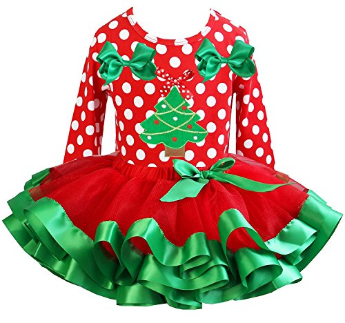 Kirei Sui Girls Red Green Satin Tutu Xmas Tree Polka Dots Tee Party Dress