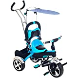 Lil' Rider 2-in-1 Stroller Tricycle - Child Safe Trike Trainer, Blue