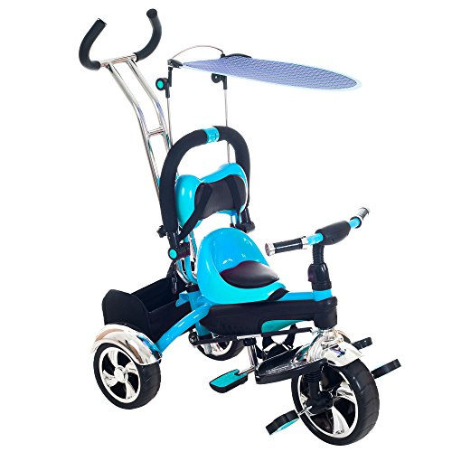Lil' Rider 2-In-1 Stroller Tricycle - Child Safe Trike Trainer, Blue front-259729