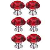 6 Pcs 40mm Crystal Glass Cupboard Wardrobe Cabinet Door Drawer Kitchen Knobs Handle