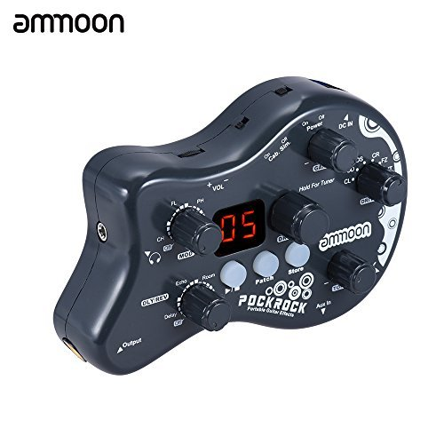ammoon PockRock Guitar Multi-effects Processor Effect Pedal 15 Effect Types 40 Drum Rhythms Tuning Function with Power Adapter (Color: Dark Grey)