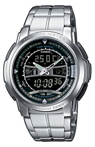 Casio AQF-101WD-1BVEF Men's Analog and Digital Quartz Multifunction Watch with Steel Bracelet