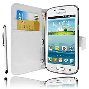 Etui Housse Luxe Blanc Portefeuille pour Samsung Galaxy Trend S7560 / Trend Plus S7580 + STYLET et 3 FILM OFFERT !