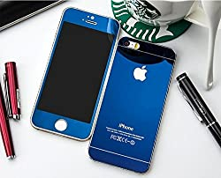 Electroplated Mirror Front + Back Tempered Glass Screen Protector for Apple Iphone 5 5S - Blue