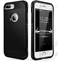 Yesgo Dual Layer Rugged Case with Tempered Glass Screen Protector for iPhone 7 Plus (Matte Black)
