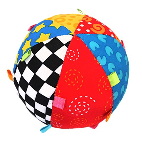 gangnumsky-Colorful Ring Bell Ball Baby Toy Ball Educational Cotton Baby Hand Grasp Ball Cloth Music Sense Ball (Dump Truck Lamp compare prices)