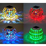 Solar Lawn Light, Mosaic Lawn Light Colorful Garden Lights by YIGER LED Tablet Lamp of Waterproof Outdoor Glass Lawn Lamp for Indoor or Outdoor Decorations and Festival Gift