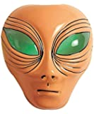 Beige Plastic Alien Face Mask With Green Eyes Et Halloween Martian Fancy Dress