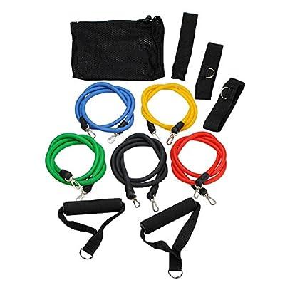 OUTERDO Widerstandsbänder, 11-teiliges Set; Ideal für Heimfitness, Yoga, Pilates, Bauchmuskeln, P90x & Training & Übungsbogen