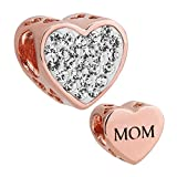 ReisJewelry Mom Charm Heart Love Crystal Charms Bead For Bracelet (Rose Gold)