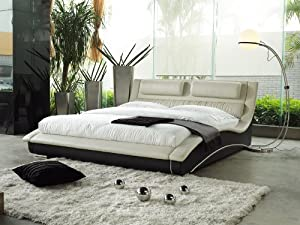 Napoli Modern Contemporary Platform Bed In Black Leatherette