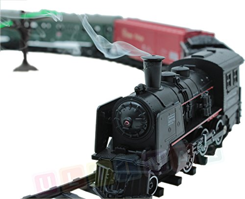 Eisenbahn elektrisch set - Dampflokomotive, 4 Wagen, Sound, Licht und Rauch - Elektrische Lokomotive - 25 Teile