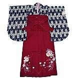 きもの倶楽部 矢絣の二尺袖の着物(紺)と豪華な刺繍の袴(エンジ)Lセット