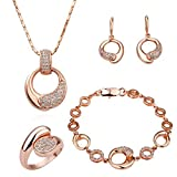 LEKANI Women 18K Rose Gold Palted Necklace, Earrings, Ring and Bracelet Wedding Jewelry Sets thumbnail