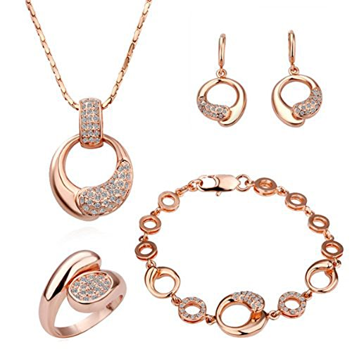 LEKANI Women 18K Rose Gold Palted Necklace, Earrings, Ring and Bracelet Wedding Jewelry Sets image