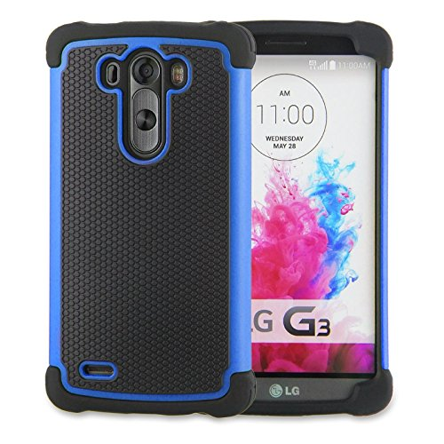 LG G3 Case,G3 Case Protective*HOT* [Drop Protection][shockproof][Rugged],Rubber+Hard case cover and Dual Layer Protective Case for LG G3(2015)-(blue) (Lg G3 Phone Case Speck compare prices)