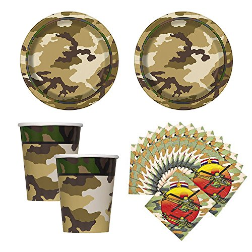 02d Camouflage Army Party supplies for 16 guests,cake plates, napkins and cups