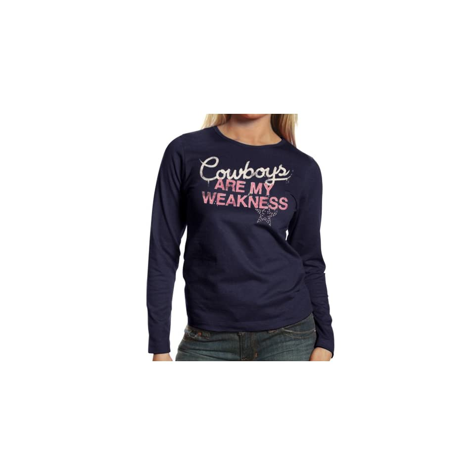 8b41d061b NFL Dallas Cowboys Ladies My Weakness Long Sleeve T Shirt Navy Blue ...