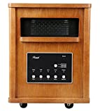 Rosewill RHWH-14002 1500 Watt Oak Wooden Cabinet Finish Room Space Heater with 6 Infrared Heating Element Tubes - ETL Certified
