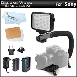 10-Piece Pro 120 LED Dimmable On-Camera LED Video Light Kit with Battery, Charger, Diffusers Case + Pro Camera / Camcorder Action Stabilizing Handle For Sony a6000, Cyber-shot DSC-HX50V/B, DSC-HX200V, DSC-HX300/B, DSC-RX100, DSC-RX1/B, DSC-RX100M III