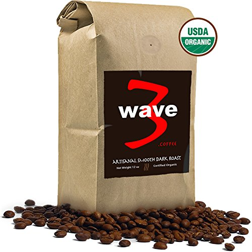 WAVE3 COFFEE Artisanal Smooth Dark Roast. Best hand-picked organic beans roasted daily. Third wave coffee roaster. Overtly big mouthfeel. Bold black velvety smoothness. Whole bean superfood coffee. Complex brew, bold chocolate, juicy blackberry tones