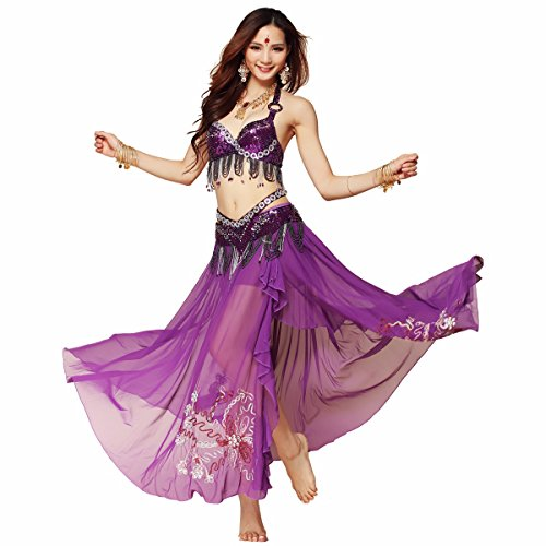 Pilot-trade Lady's Professional Tribe Style Belly Dance Costume Show Top Belt Skirt
