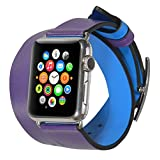 JSGJMY Apple Watch Band 38mm Double Tour Cuff Leather Waterproof Dual-face can wear-Purple and RoyalBlue for iwatch Series1 Series2