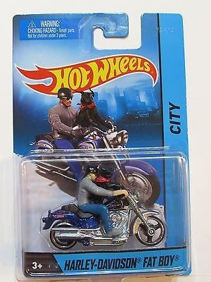 Hot Wheels City Harley Davidson Fat Boy With Rider Dark Blue